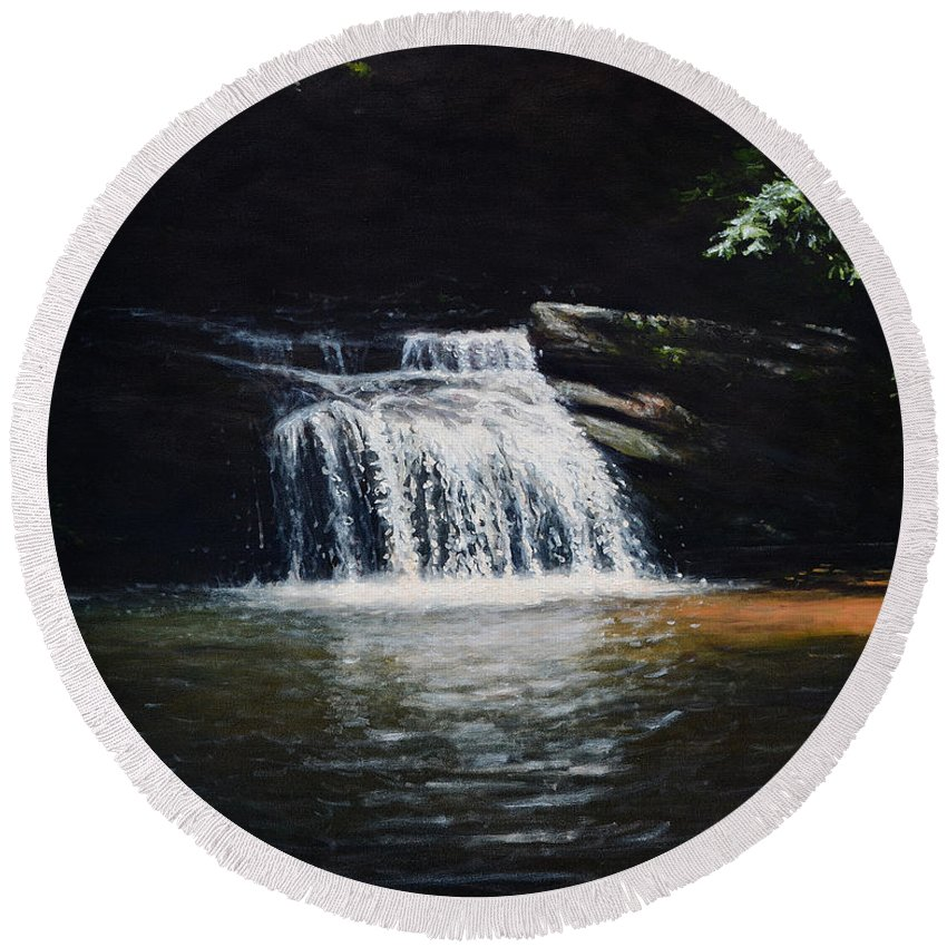 Landscape Round Beach Towel featuring the painting Waterfall At Table Rock National Forest by Erik Schutzman