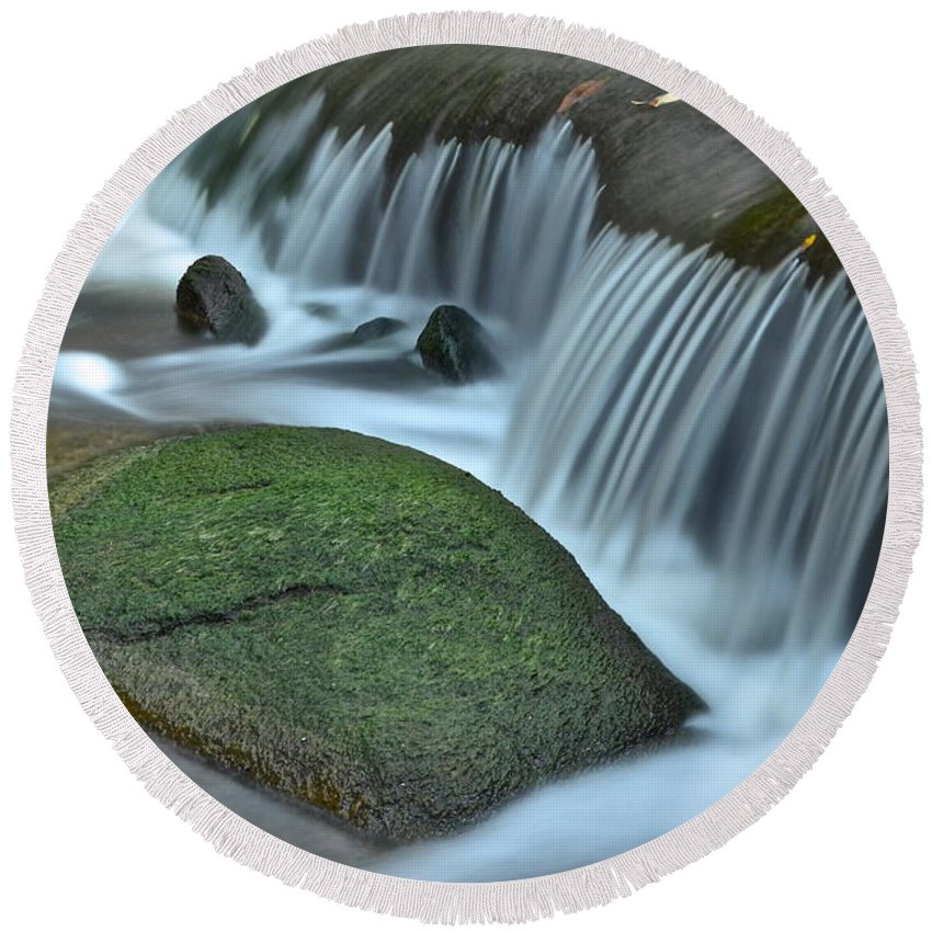 Close Round Beach Towel featuring the photograph Waterfall Close Up by Frozen in Time Fine Art Photography
