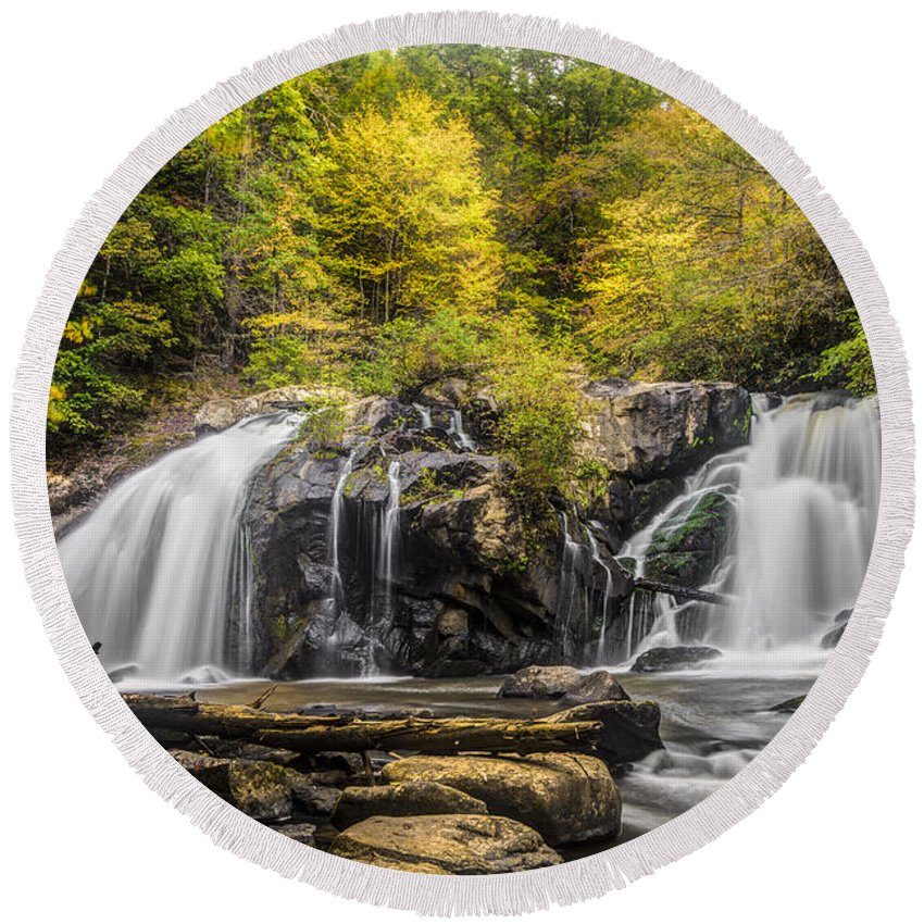 Appalachia Round Beach Towel featuring the photograph Waterfall In Autumn by Debra and Dave Vanderlaan