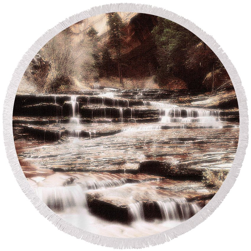 Waterfall Round Beach Towel featuring the digital art Waterfall In Sepia by Lyriel Lyra