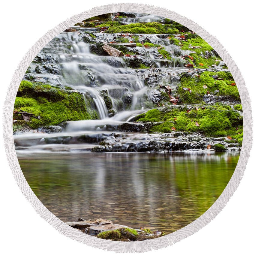 Beautiful Round Beach Towel featuring the photograph Waterfall In The Forest In Autumn Season by U Schade