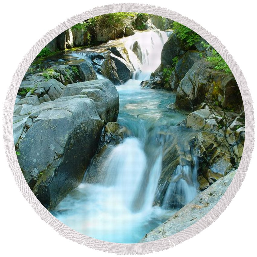 Water Round Beach Towel featuring the photograph Waterfall Near Paradise by Jeff Swan