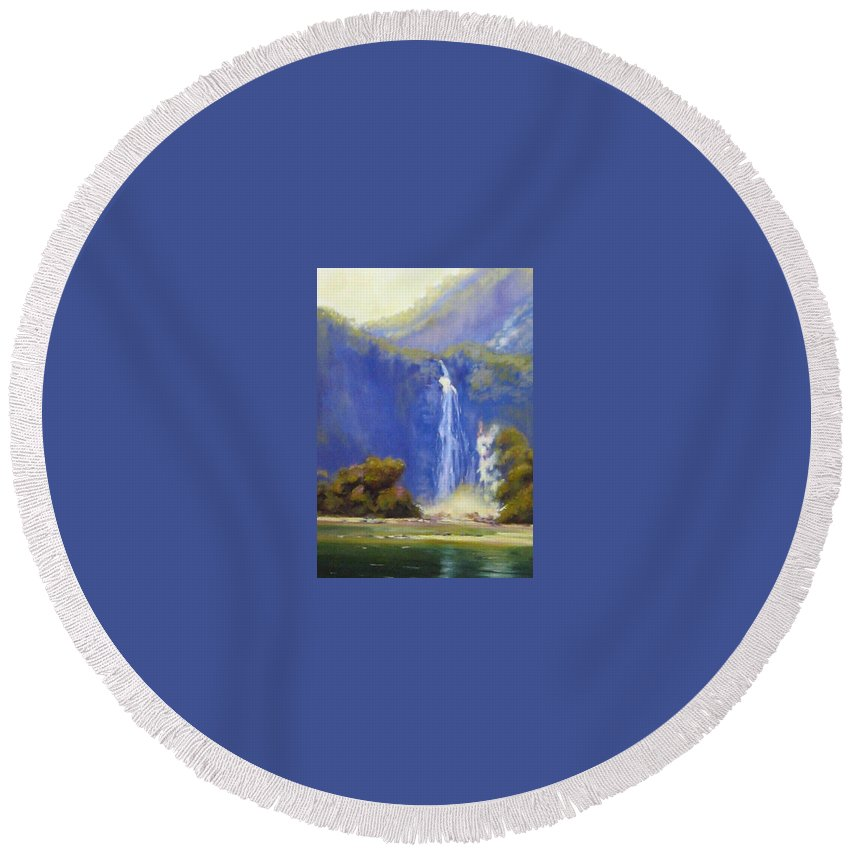 Landscapes Round Beach Towel featuring the painting Waterfall New Zealand by Diane Quee