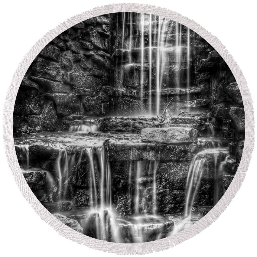 Waterfall Round Beach Towel featuring the photograph Waterfall by Scott Norris