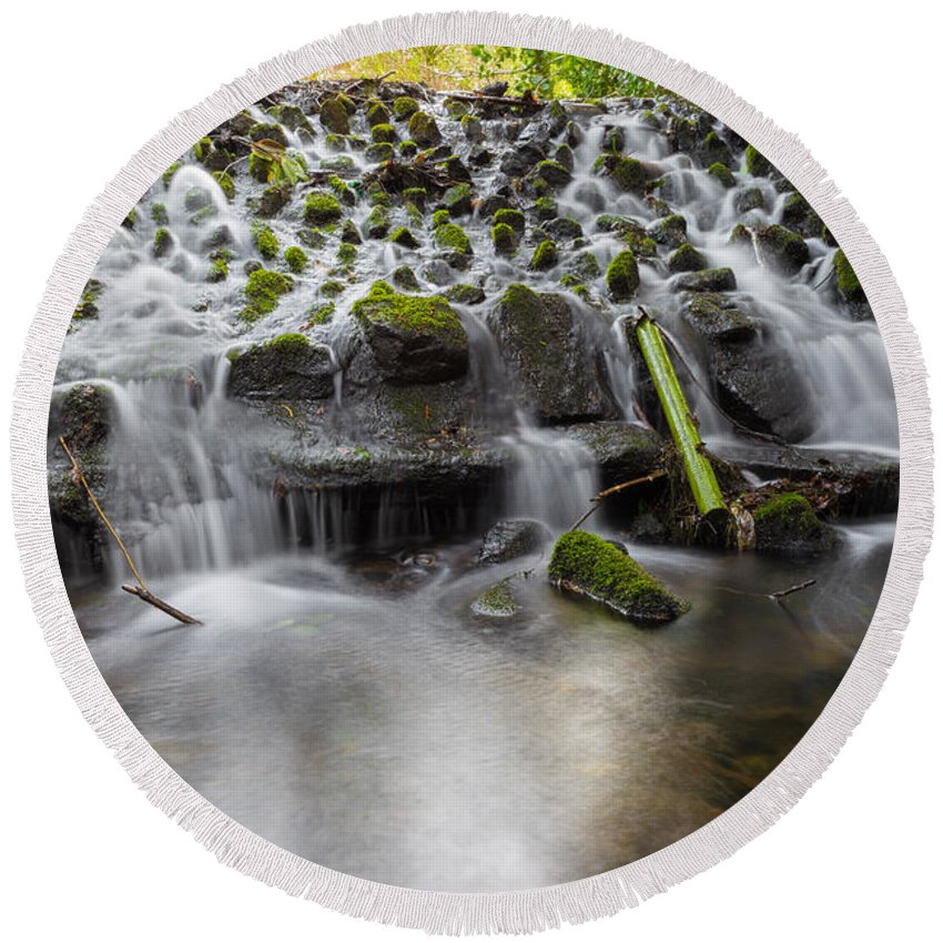 Dublin Round Beach Towel featuring the photograph Waterfalls In Marlay Park by Semmick Photo