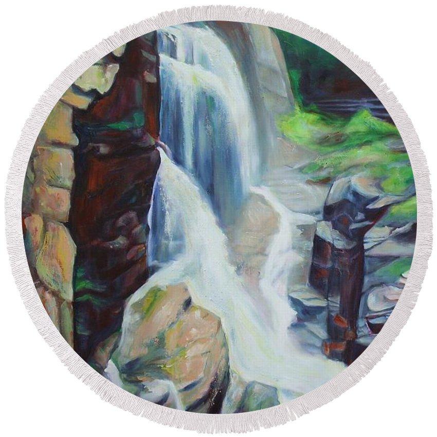 Waterfall Round Beach Towel featuring the painting Waterfalls by Sheila Diemert