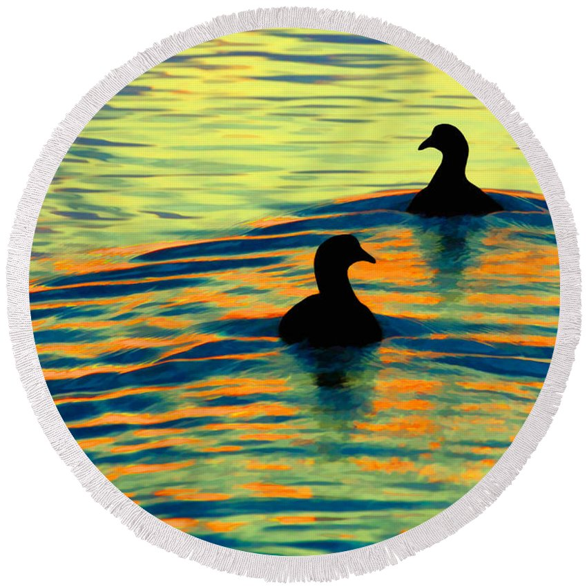 Duck Round Beach Towel featuring the photograph Waterfowl by Novastock