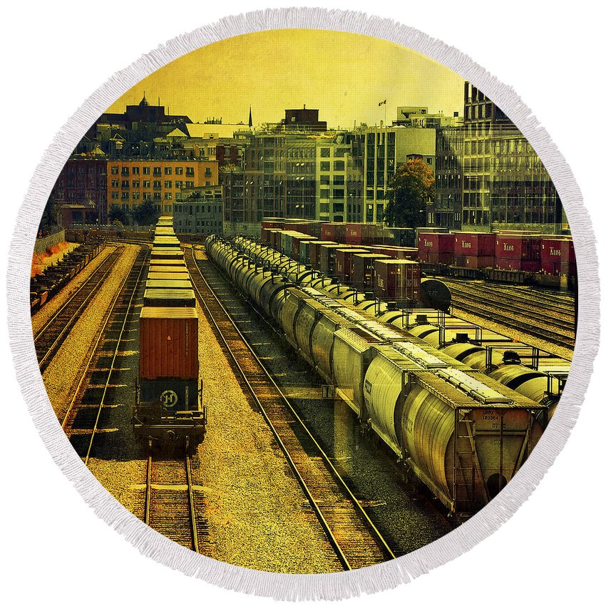 Railway Round Beach Towel featuring the photograph Waterfront Rail Yard by Claude LeTien