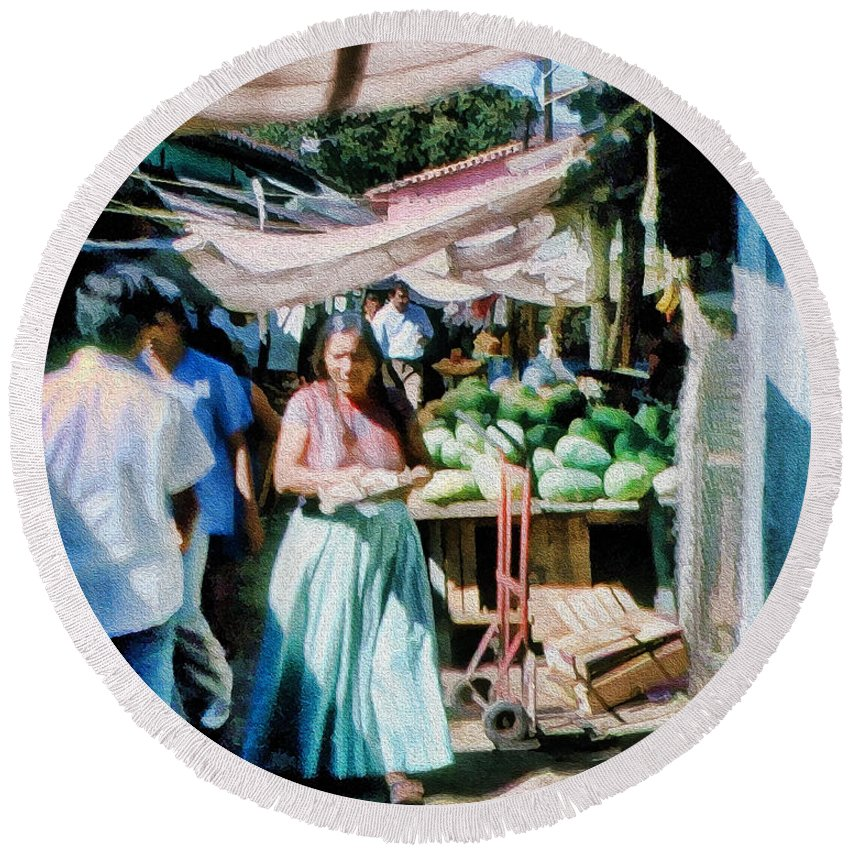 Round Beach Towel featuring the photograph Watermelons At The Market by Cathy Anderson