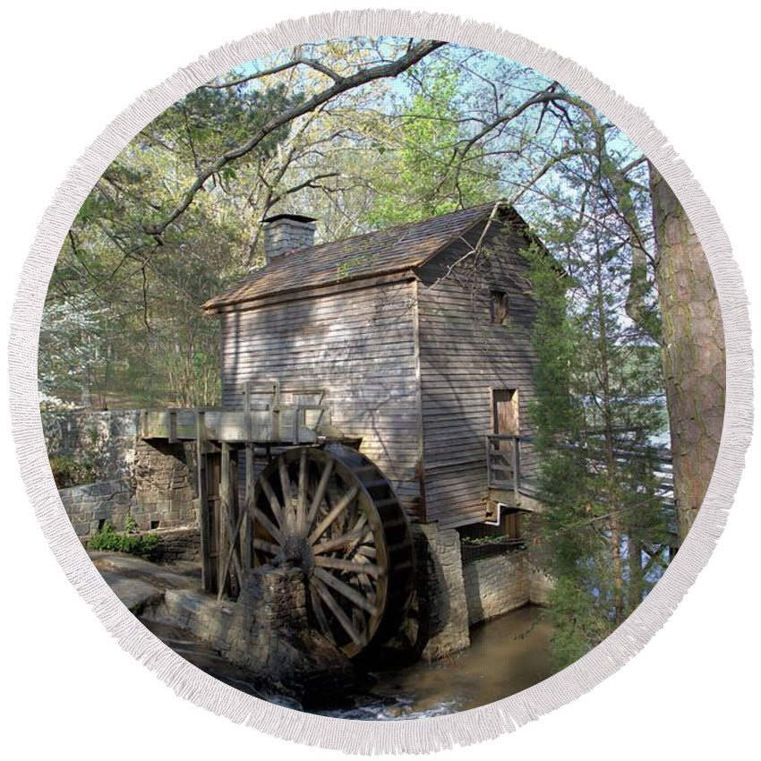 0138 Round Beach Towel featuring the photograph Waterwheel At Stone Mountain by Gordon Elwell