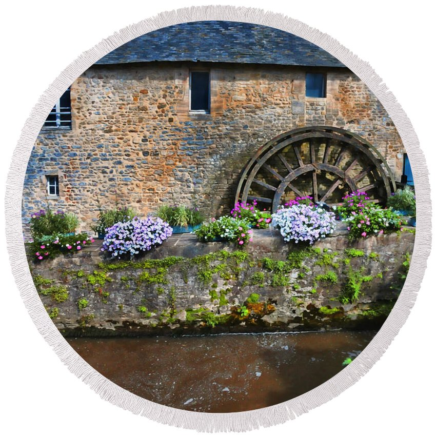 Waterwheel Round Beach Towel featuring the photograph Waterwheel In Brittany by Dave Mills