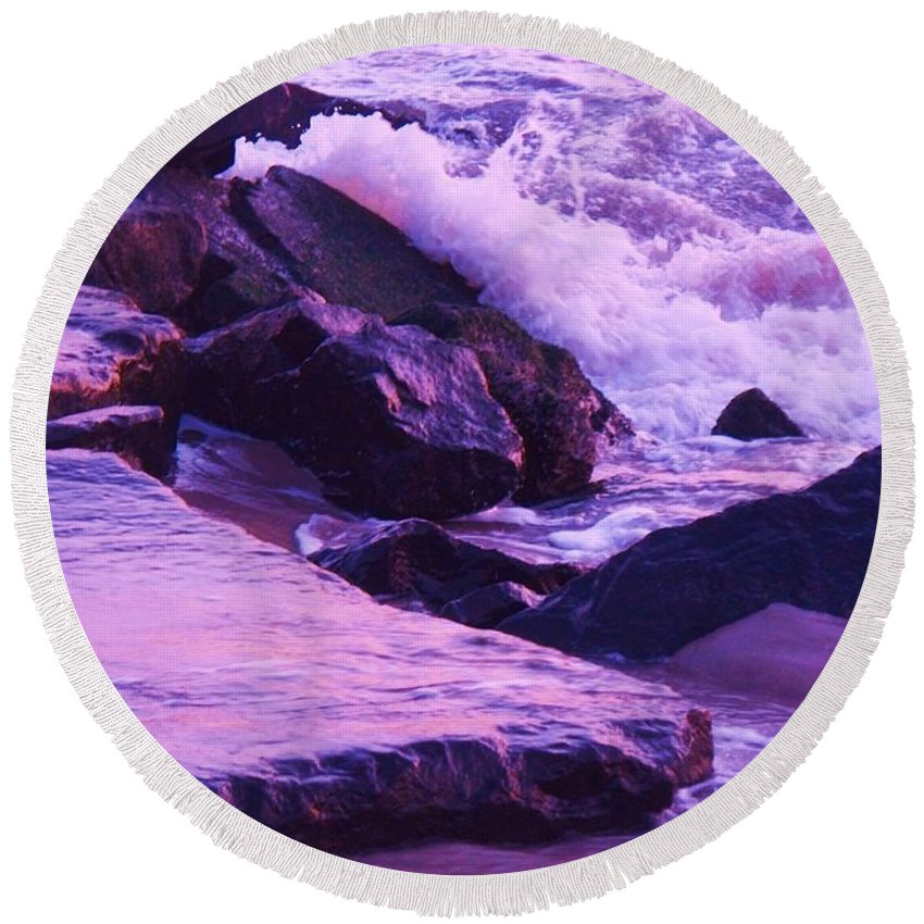 Wave Round Beach Towel featuring the photograph Waves Breaking On Jetties by Eric Schiabor