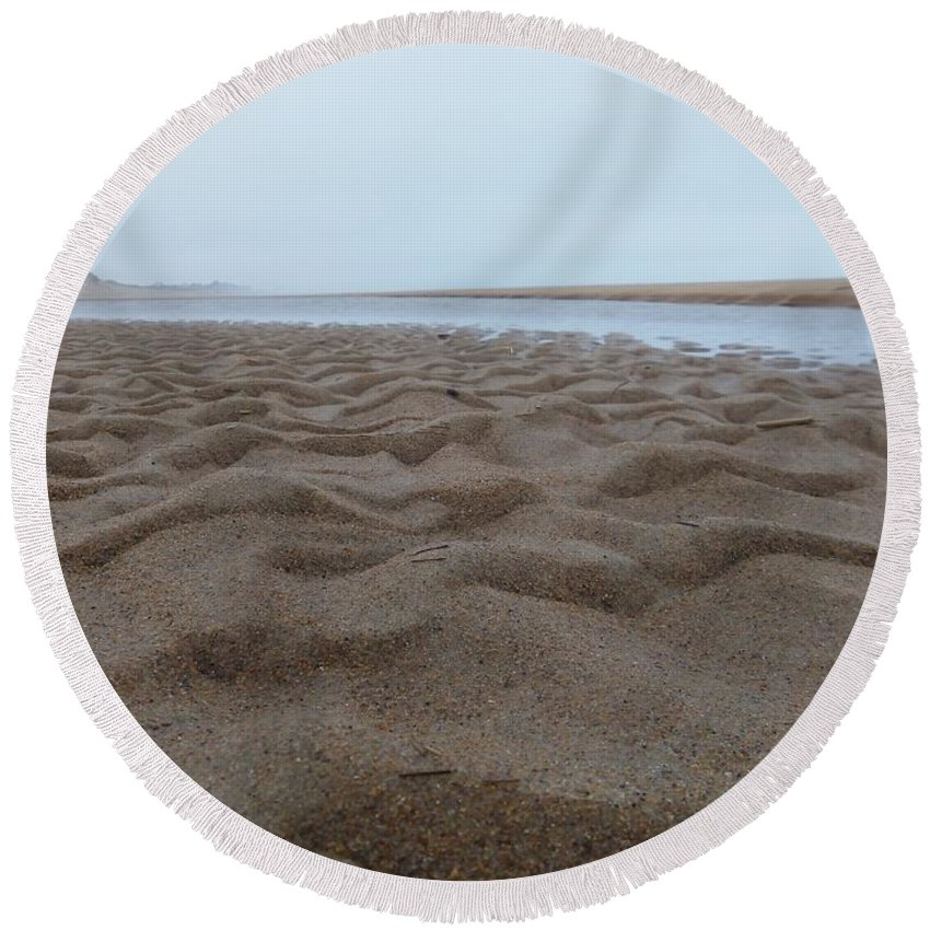Sandy Point Round Beach Towel featuring the photograph Waves Of Sand by Two Bridges North