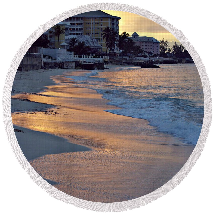 Bahamas Round Beach Towel featuring the photograph Waves Of Sunlight by Alanna DPhoto