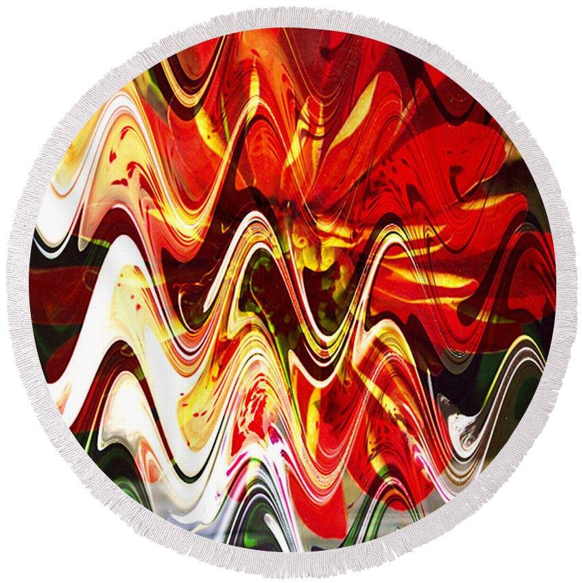 Digital Image Round Beach Towel featuring the digital art Waves by Yael VanGruber