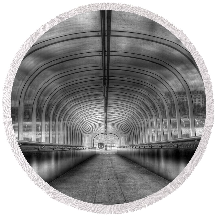 Hdr Round Beach Towel featuring the photograph Way Down by Svetlana Sewell
