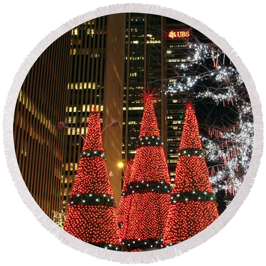 Christmas Trees New York City Night View Round Beach Towel featuring the photograph We Three Trees by Alice Gipson