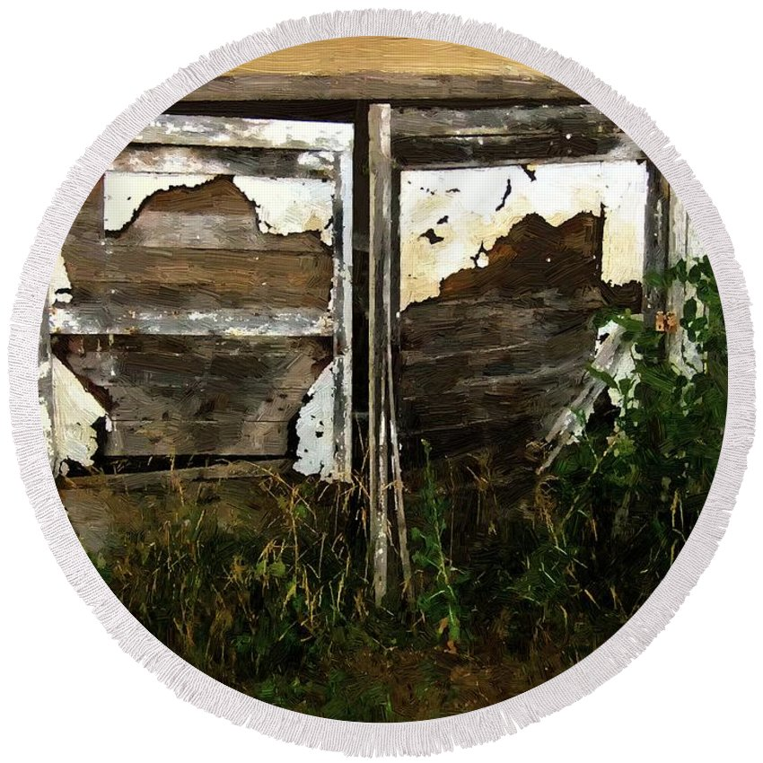 Shed Round Beach Towel featuring the painting Weathered In Weeds by RC DeWinter