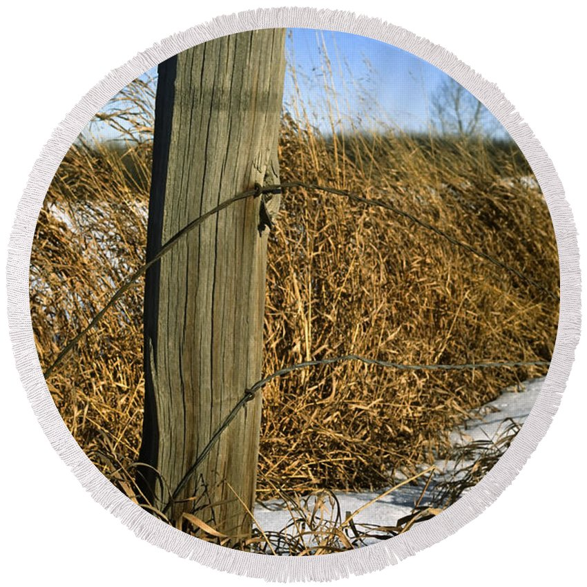 Agriculture Round Beach Towel featuring the photograph Weathered Old Fence Post by Roderick Bley