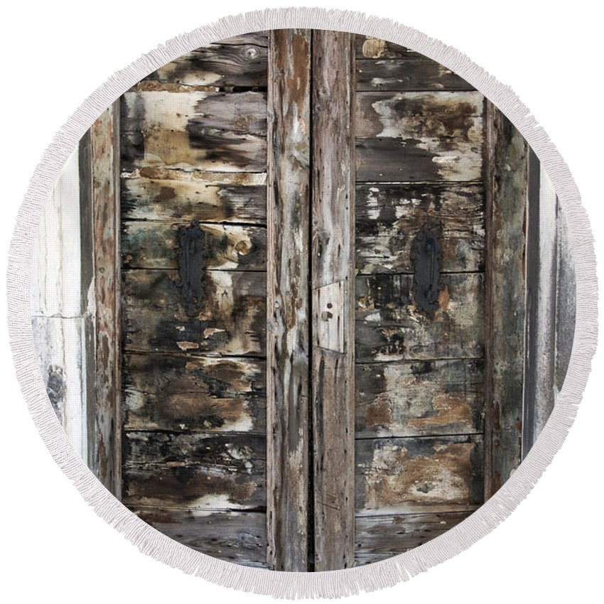 Vertical Round Beach Towel featuring the photograph Weathered Wood Door Venice Italy by Sally Rockefeller