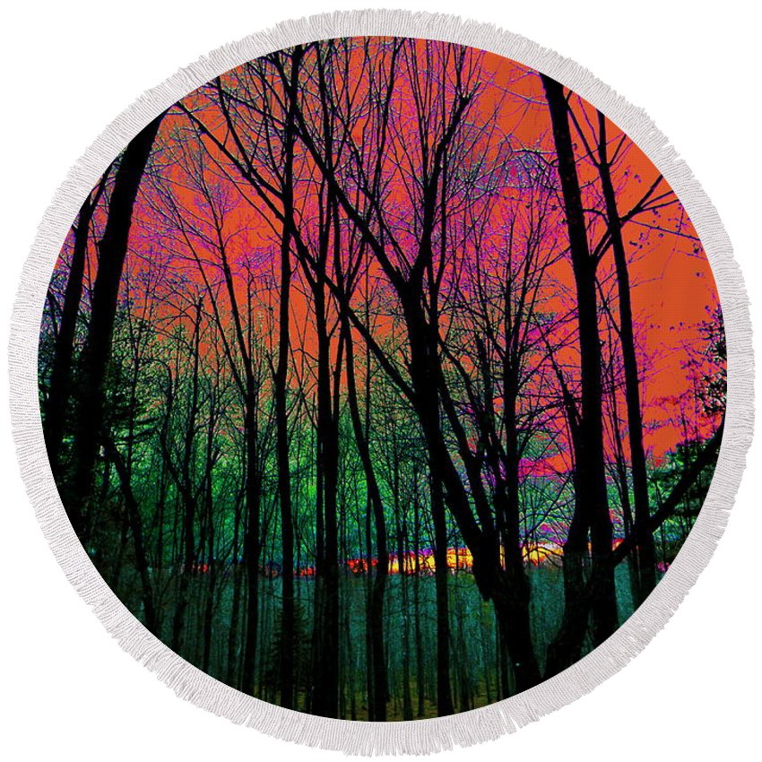 Suns Last Rays Illuminating A Richly Colored Afterglow Sky Backdropping Sparse Black Silhouetted Trees Round Beach Towel featuring the photograph Webbs Woods Sunset by Expressionistart studio Priscilla Batzell