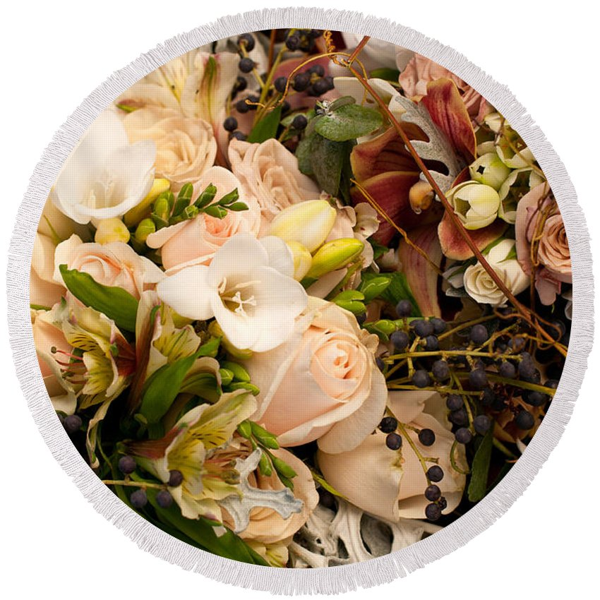 Wedding Round Beach Towel featuring the photograph Wedding Bouquets 01 by Rick Piper Photography