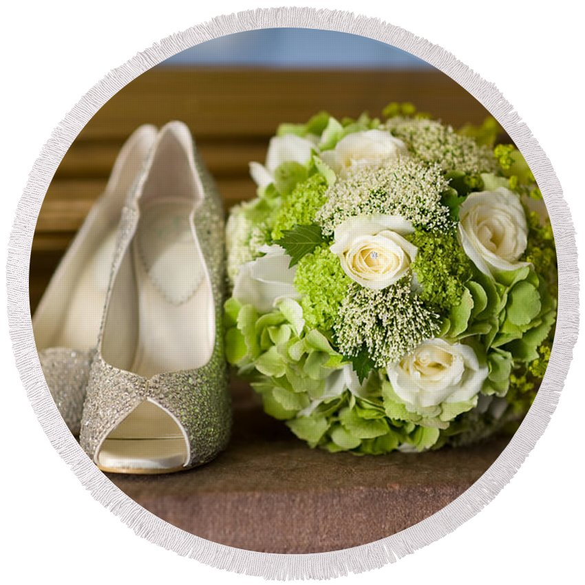 Wedding Round Beach Towel featuring the photograph Wedding Shoes And Flowers Bouquet by Lee Avison