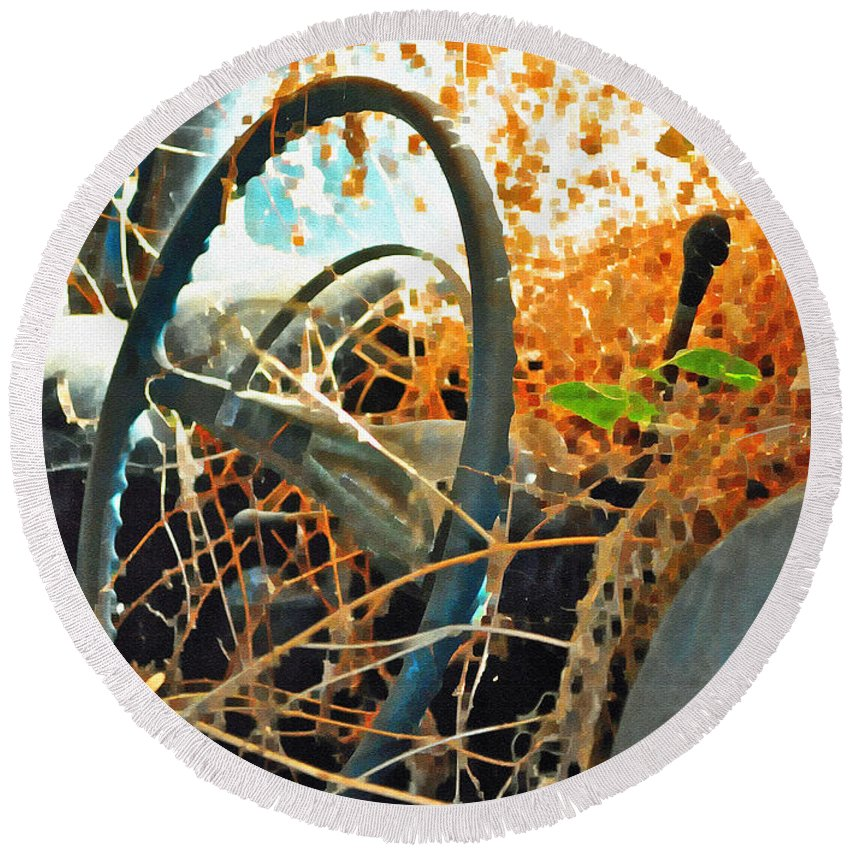 Steering Round Beach Towel featuring the photograph Weedy Steering by Gwyn Newcombe