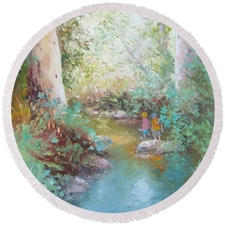 Landscape Round Beach Towel featuring the painting Weekends At The Creek by Jan Matson