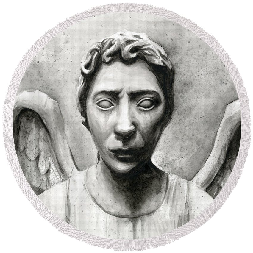 Who Round Beach Towel featuring the painting Weeping Angel Don't Blink Doctor Who Fan Art by Olga Shvartsur