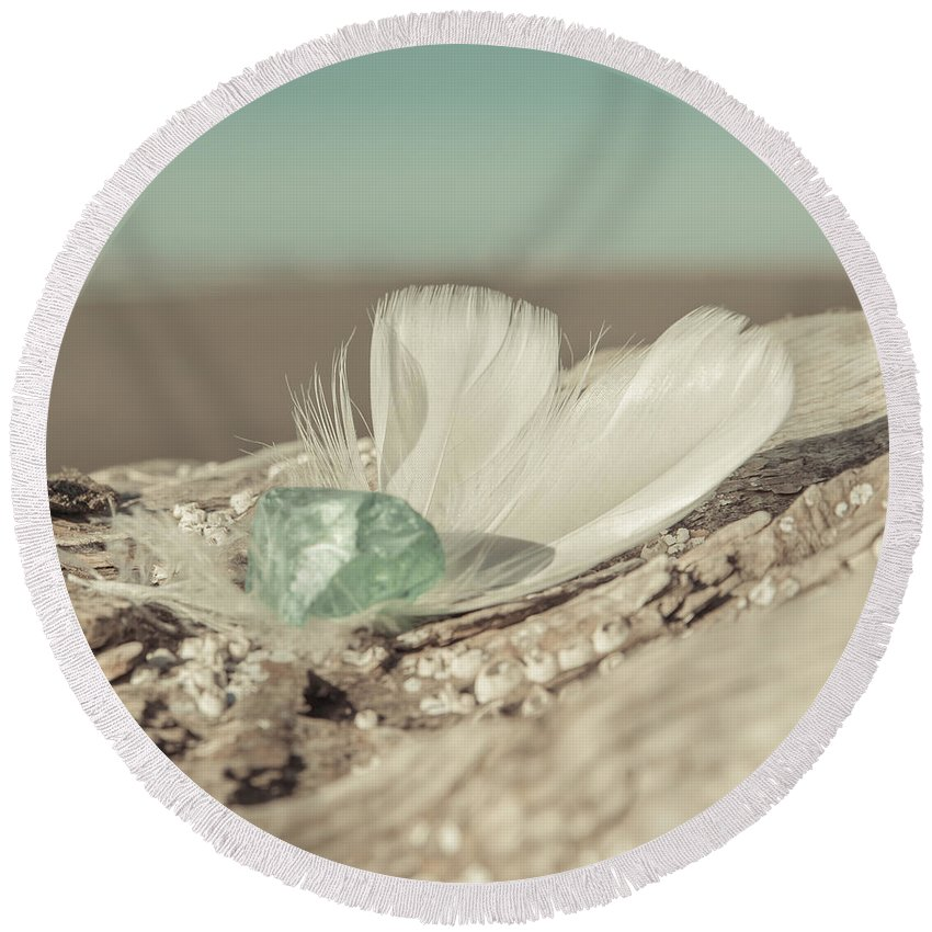 Sea Glass Feathers Photography Print Round Beach Towel featuring the photograph Weighted Feathers by Lucid Mood