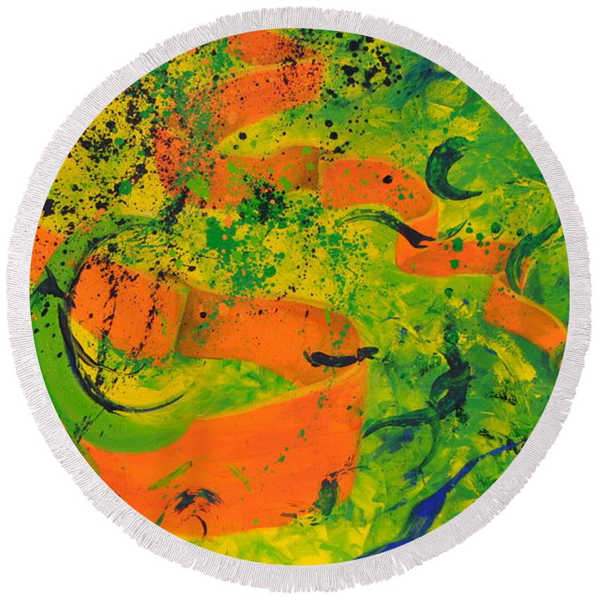 Modern Round Beach Towel featuring the painting Weighted Motion by Amanda Van Hoesen