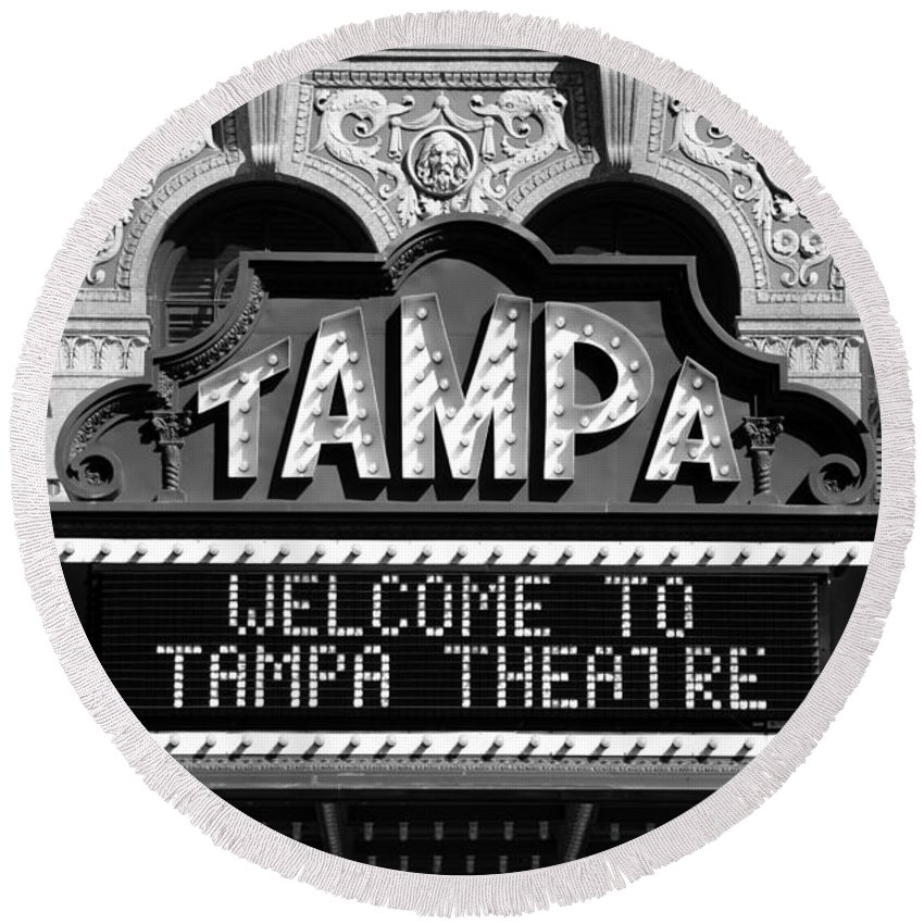 Fine Art Photography Round Beach Towel featuring the photograph Welcome Tampa by David Lee Thompson