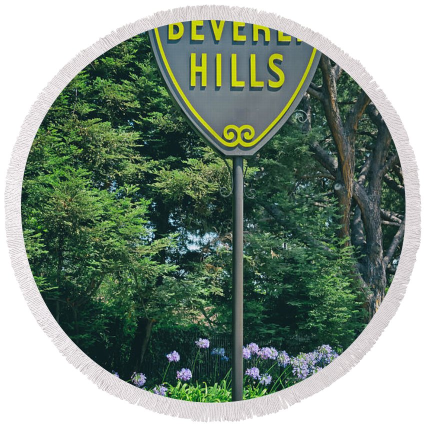 Beverly Hills Round Beach Towel featuring the photograph Welcome To Beverly Hills by Mountain Dreams