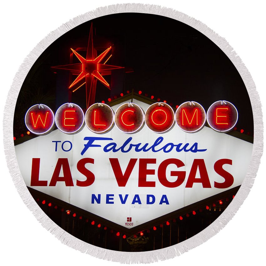 Las Vegas Round Beach Towel featuring the photograph Welcome To Fabulous Las Vegas by Debby Richards