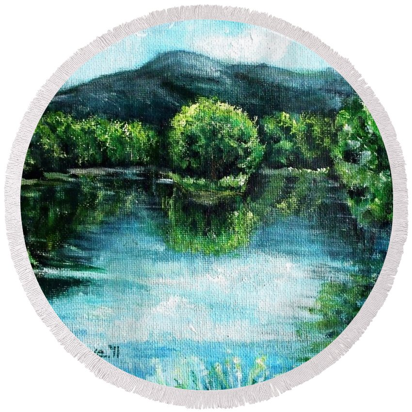 Maine Round Beach Towel featuring the painting Welcome To Maine by Shana Rowe Jackson