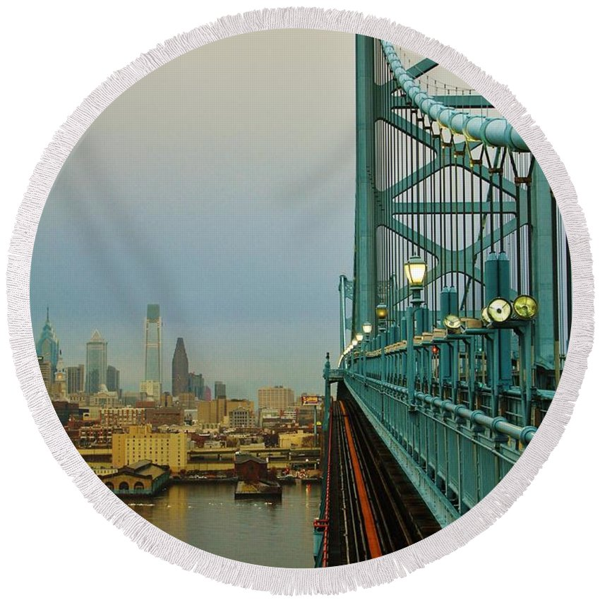 Philadelphia Round Beach Towel featuring the photograph Welcome To Philly by Benjamin Yeager