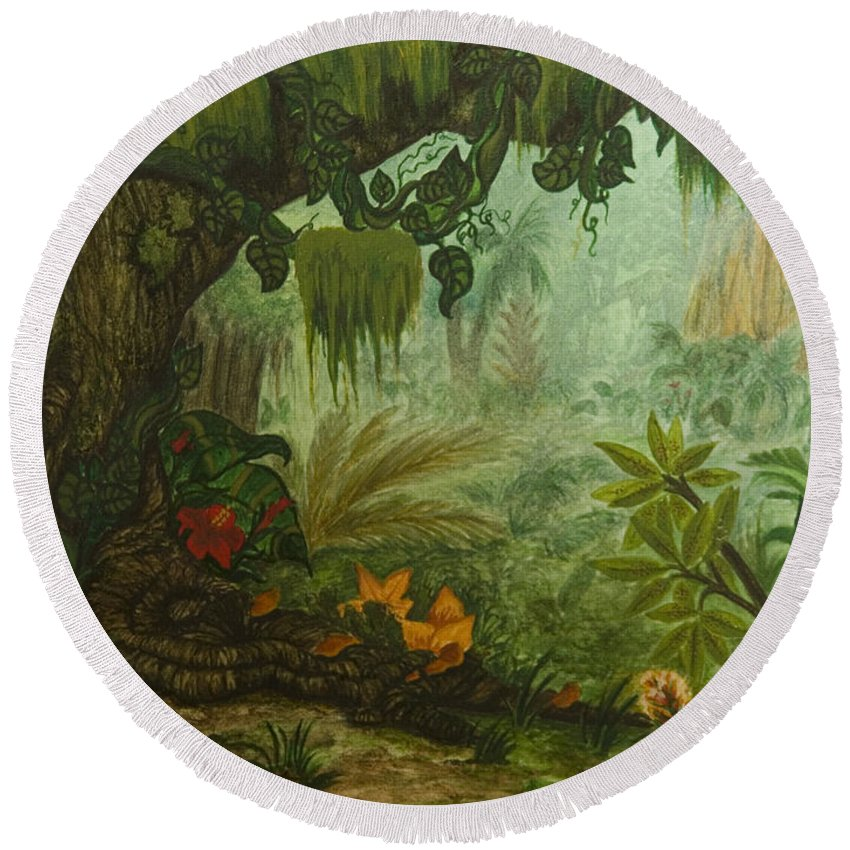 Animation Background Jungle Landscape Cartoon Tropical Round Beach Towel featuring the painting Welcome To The Jungle by Brenda Salamone