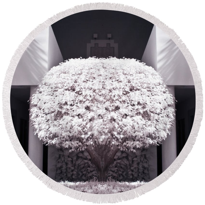 3scape Photos Round Beach Towel featuring the photograph Welcome Tree Infrared by Adam Romanowicz