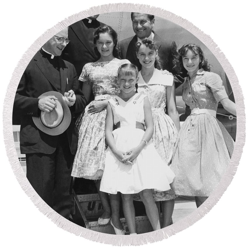 1958 Round Beach Towel featuring the photograph Welk And The Lennon Sisters by Underwood Archives