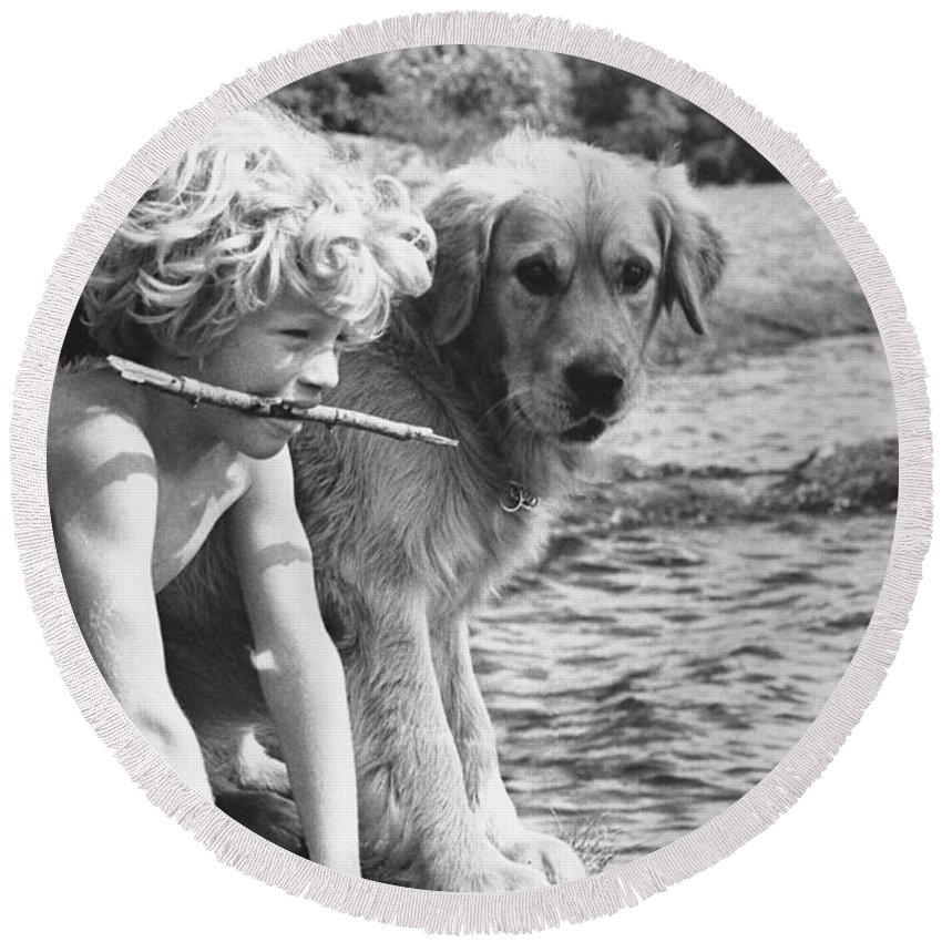 Boy Round Beach Towel featuring the photograph Well Trained Boy by FW Binzen