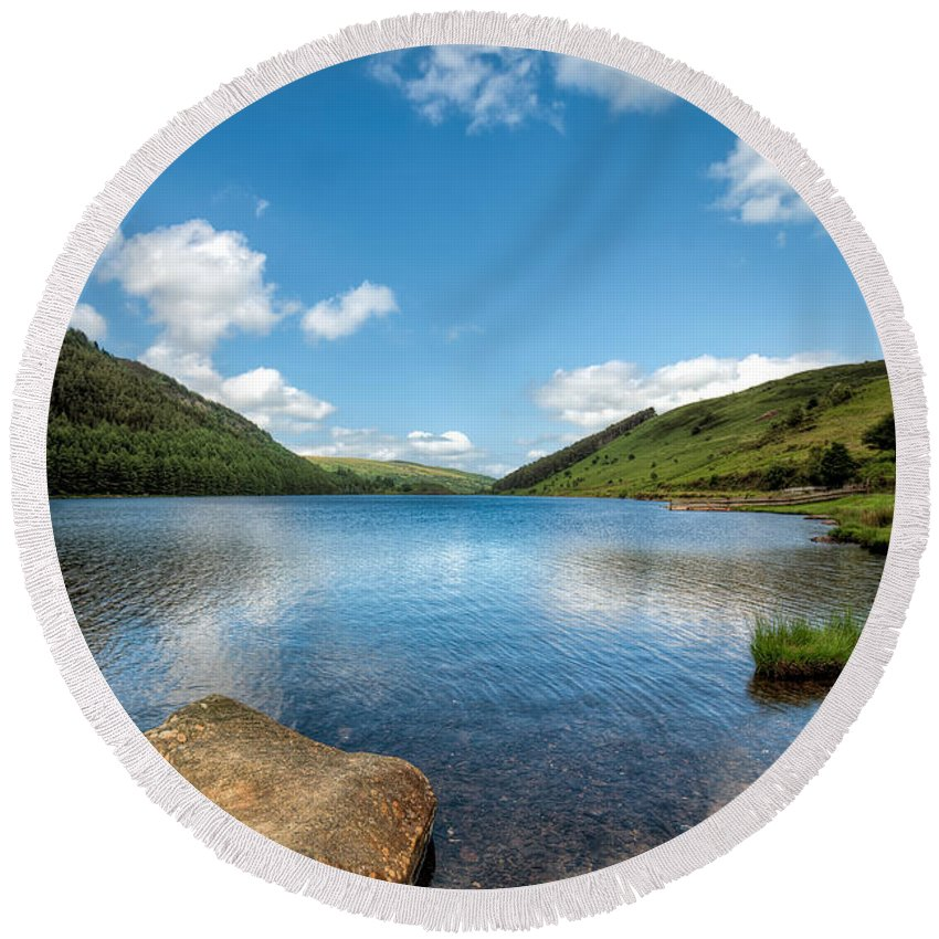 Betws Y Coed Round Beach Towel featuring the photograph Welsh Lake by Adrian Evans