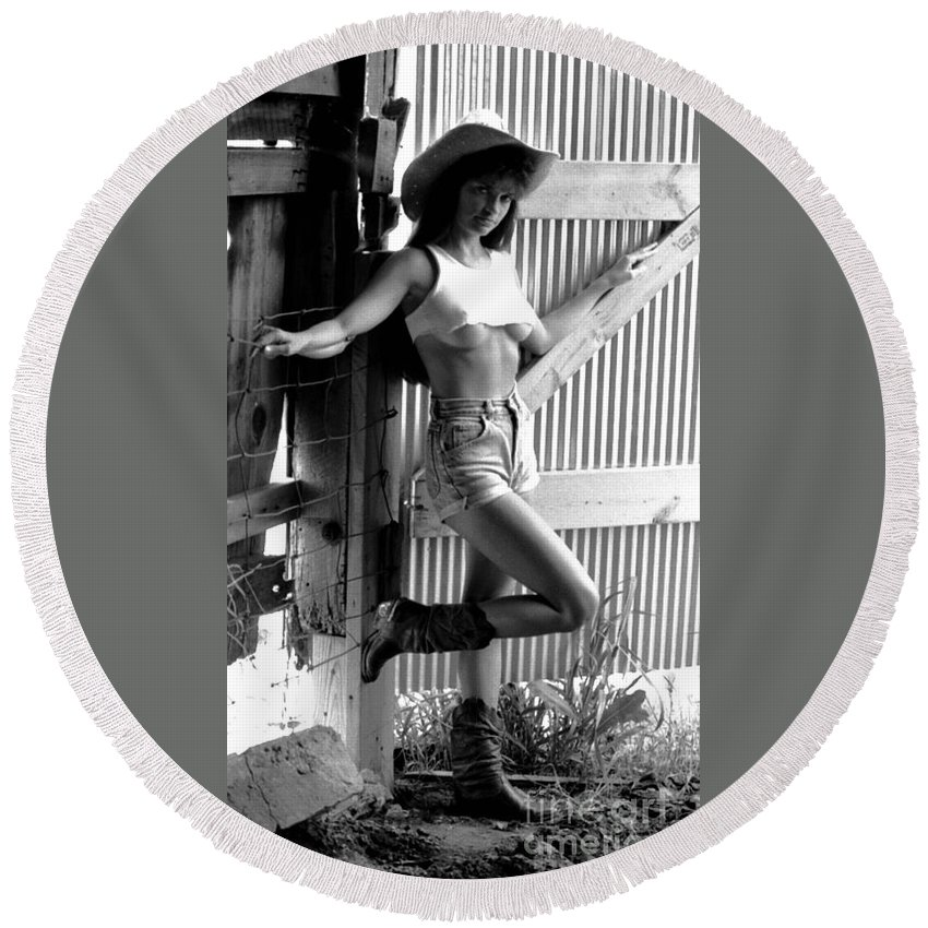 Model Round Beach Towel featuring the photograph Wendy Barn Door-2 by Gary Gingrich Galleries