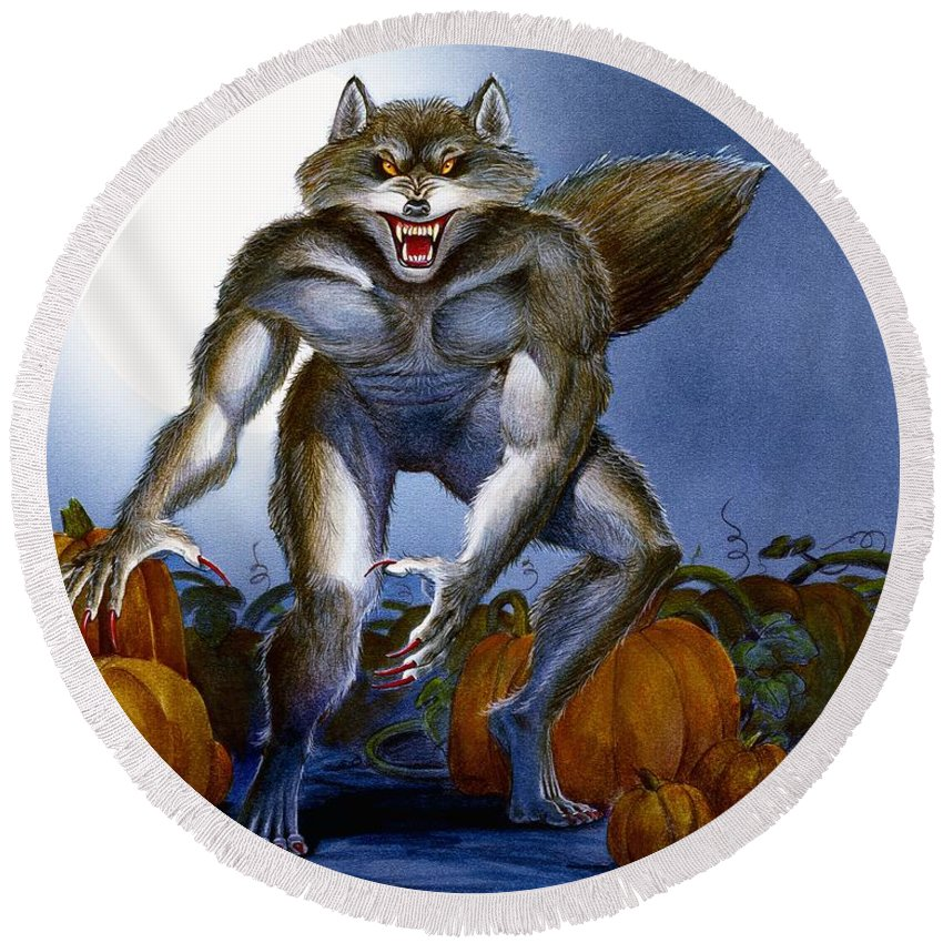 Werewolf Round Beach Towel featuring the painting Werewolf With Pumpkins by Melissa A Benson