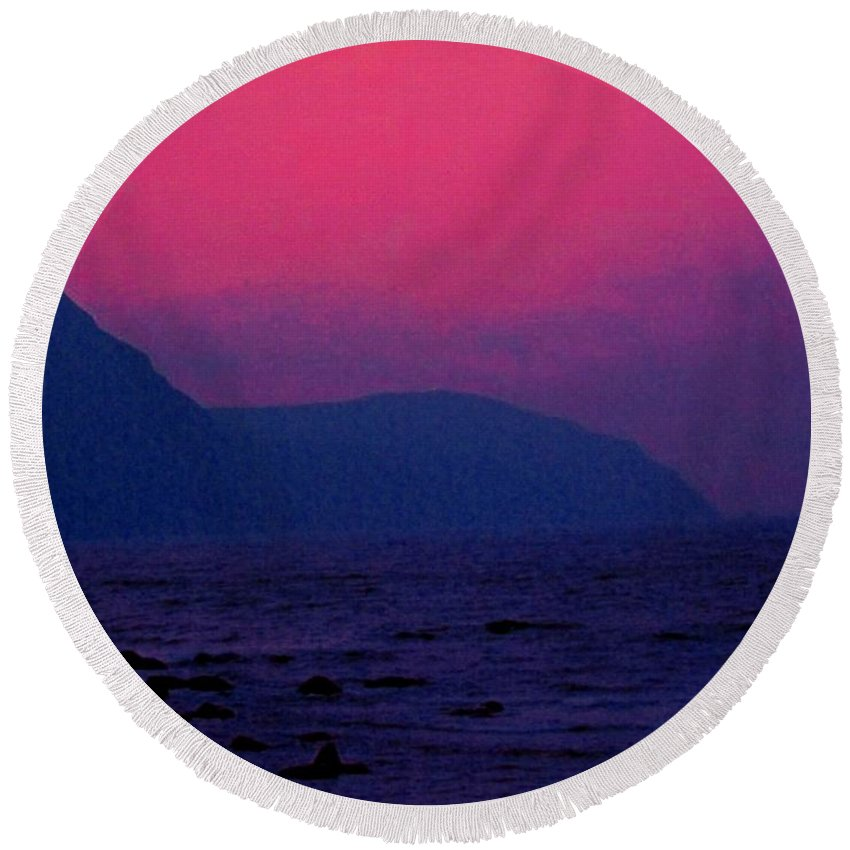 Newfoundland Round Beach Towel featuring the photograph West Coast Newfoundland Sunrise by Ian MacDonald