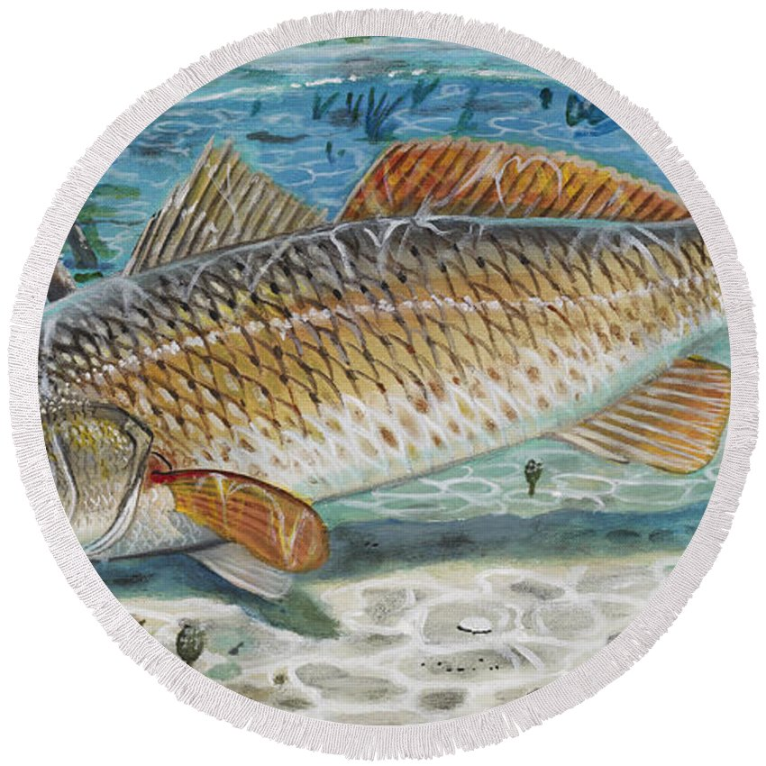 Redfish Round Beach Towel featuring the painting West Coast Red by Carey Chen