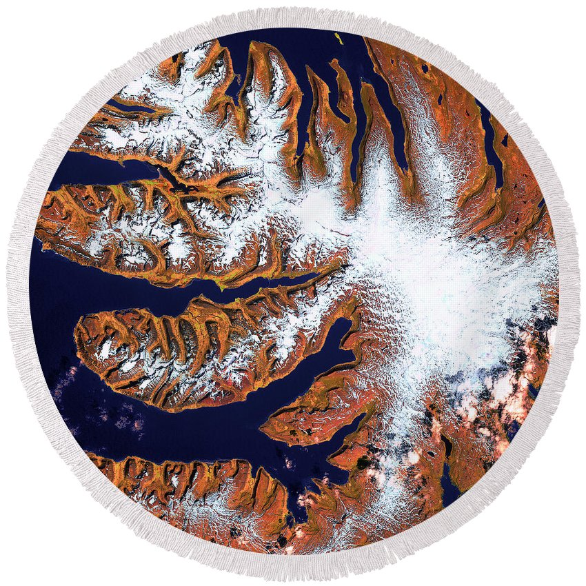 West Fjords Round Beach Towel featuring the photograph West Fjords by USGS Landsat