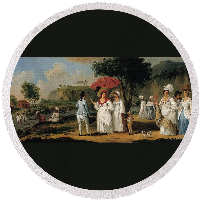 Agostino Brunias Round Beach Towel featuring the painting West Indian Landscape With Figures Promenading Before A Stream by Agostino Brunias