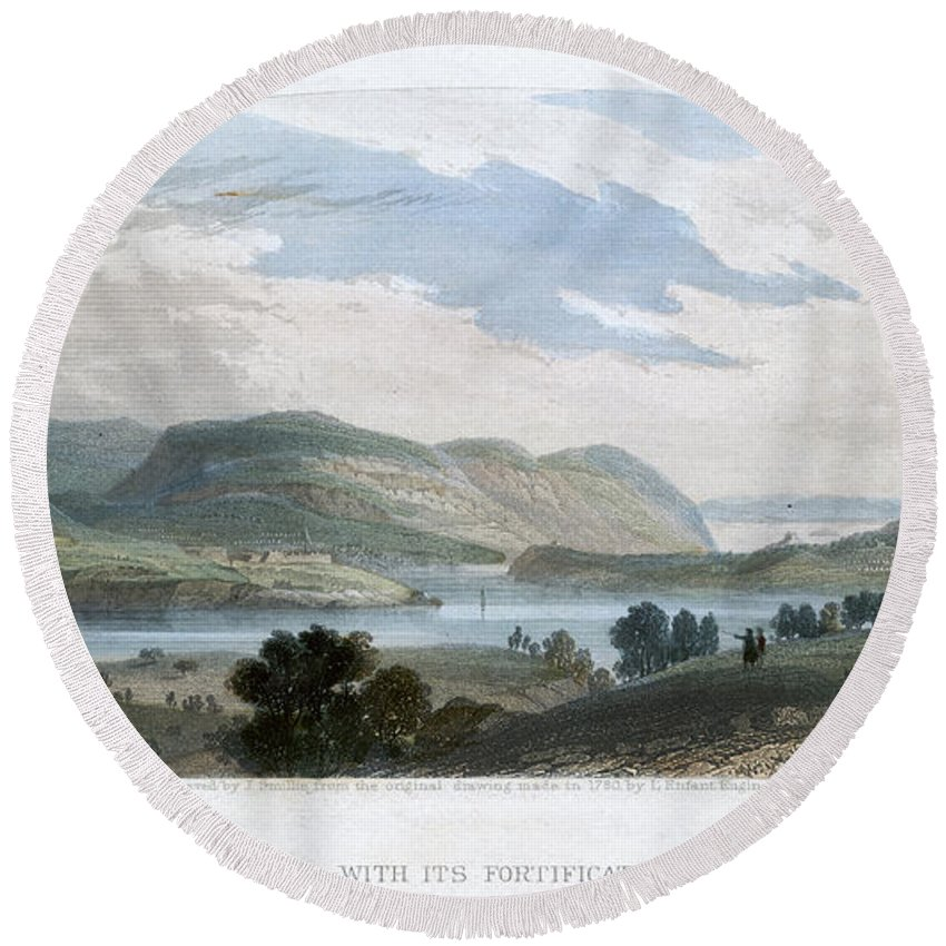 1780 Round Beach Towel featuring the photograph West Point, 1780 by Granger