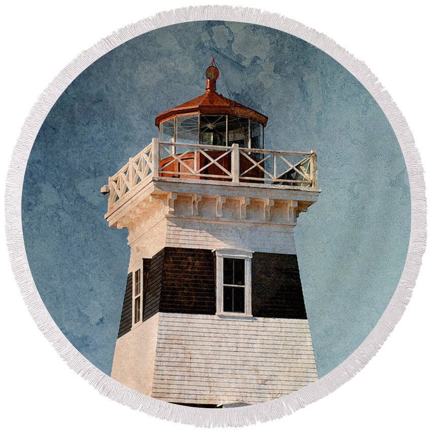 Lighthouse Round Beach Towel featuring the photograph West Point Lighthouse 7 by WB Johnston